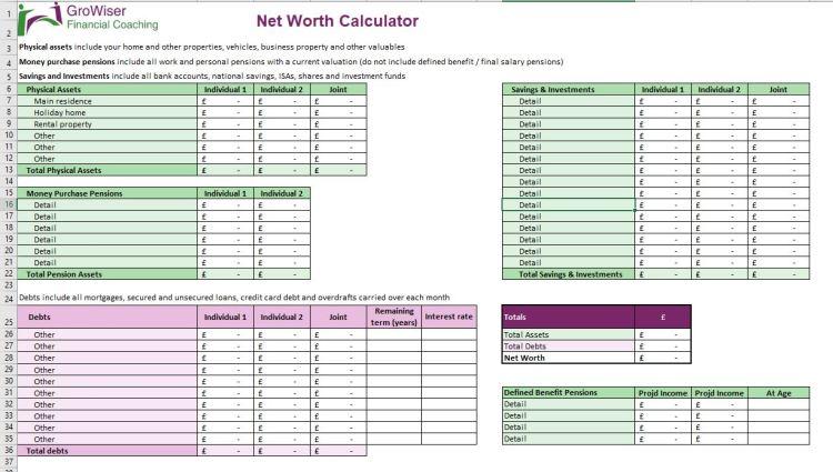 GroWiser Net Worth Calculator