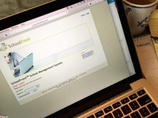 laptop with school portal open