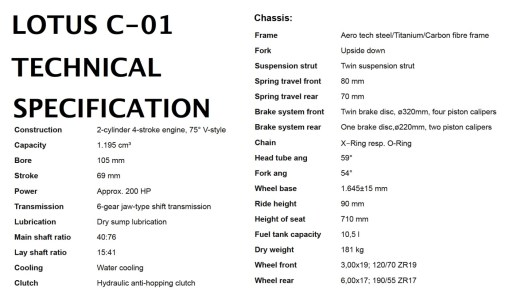 Specifications LOTUS C01