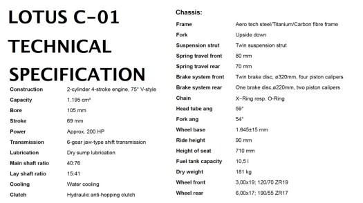 Specifications LOTUS C01