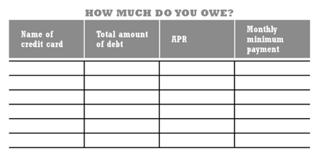 A spreadsheet to help you keep track of how much debt you owe and for which company you owe them. Columns from left to right are as follows: Name of credit card, total amount of debt, APR, and monthly minimum payment. This tool is an essential investment of your time.