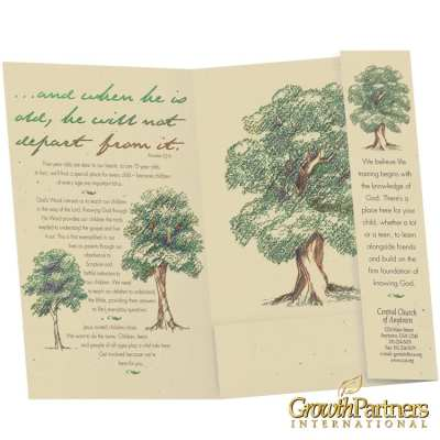 Youth folder inside with growing trees and custom imprint