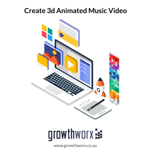 Create your 3d animated music video with duration of 180 seconds 1