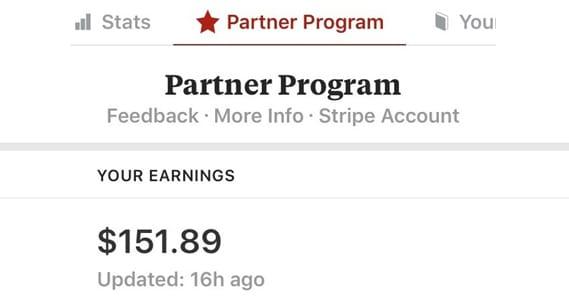 Example of Partner Program Earnings