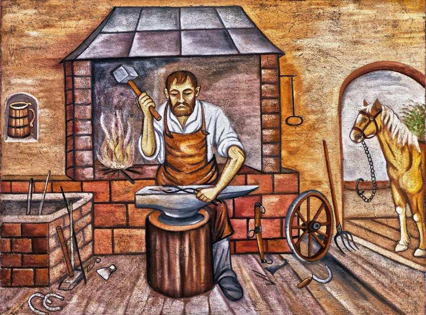 Blacksmith hammering