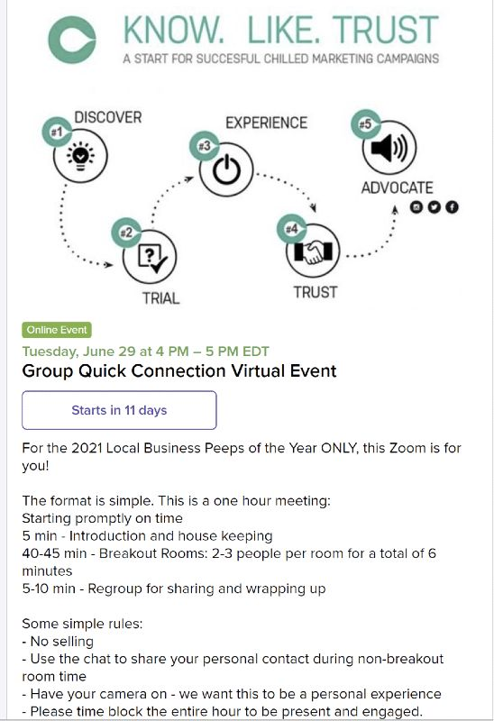 Alignable online event description for business people of the year