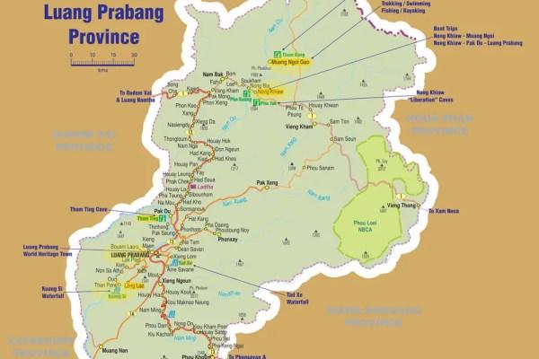 map of luang prabang, travel guides on laos luang prabang