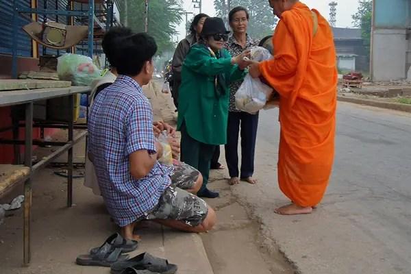 monks receive alms buddhism thailand, monks taking alms in thailand