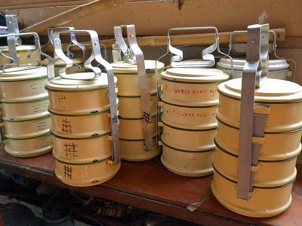 alms for monks, tiffin containers