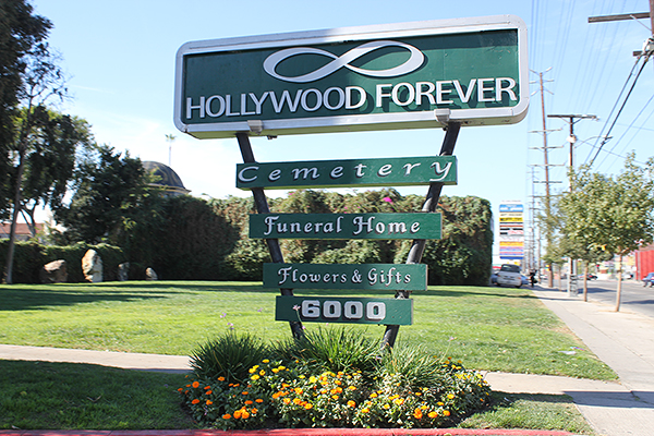 Hollywood Forever Cemetery sign, Hollywood Forever Cemetery entrance, weird museums los angeles, things to do los angeles, weird museums los angeles