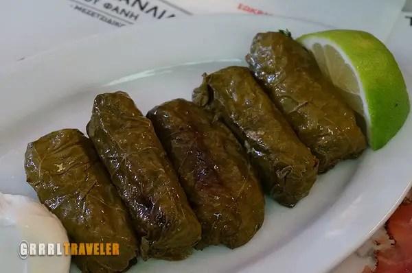 Dolmas, dolmades, 10 Greek Food Faves, favorite greek foods, stuffed grape leaves
