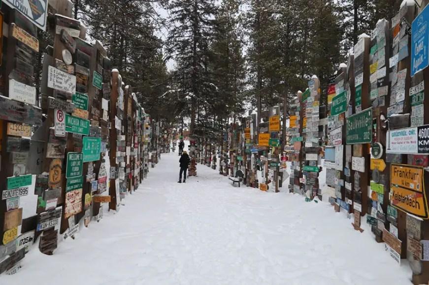 sign post forest, inuvik canada, inuvik british columbia, arctic ocean canada, watson lake