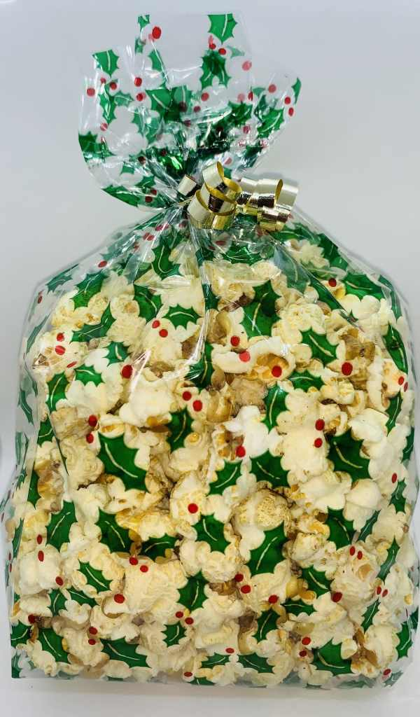 kettle corn with festive green bag