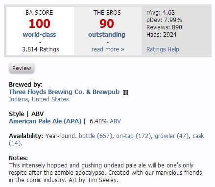 Beer Advocate score & description