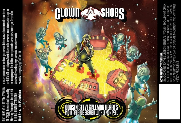 Clown Shoes Cousin Steve and the Lemon Hearts IPA with Lemon Peal