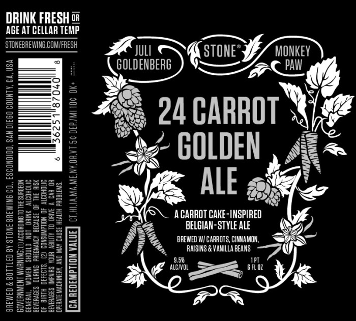 Stone, Monkey Paw, and Juli Goldenberg 24 Carrot Golden Ale