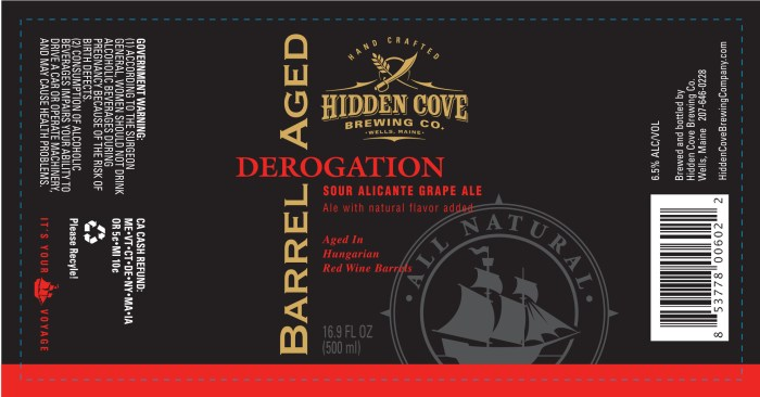 Hidden Cove Derogation Barrel Aged Sour Alicante Grape Ale