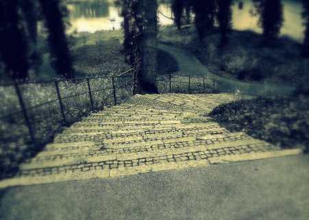 Treppe zum See
