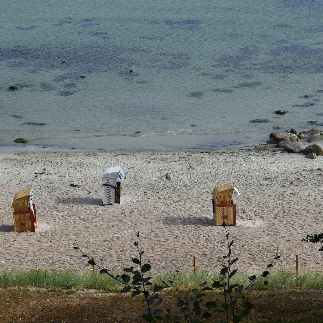 Blick auf die Strandkörbe