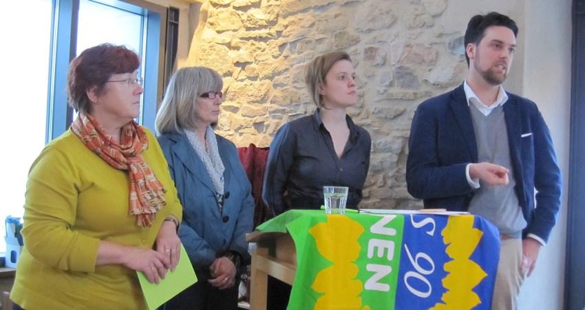 Petra Arndt, Gertrud Lehmann, Terry Reintke und Robin Wagener
