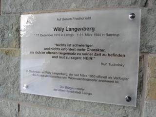 Gedenktafel für Willy Langenberg