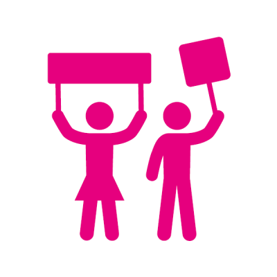 Piktogramm magenta Demonstrantin und Demonstrant