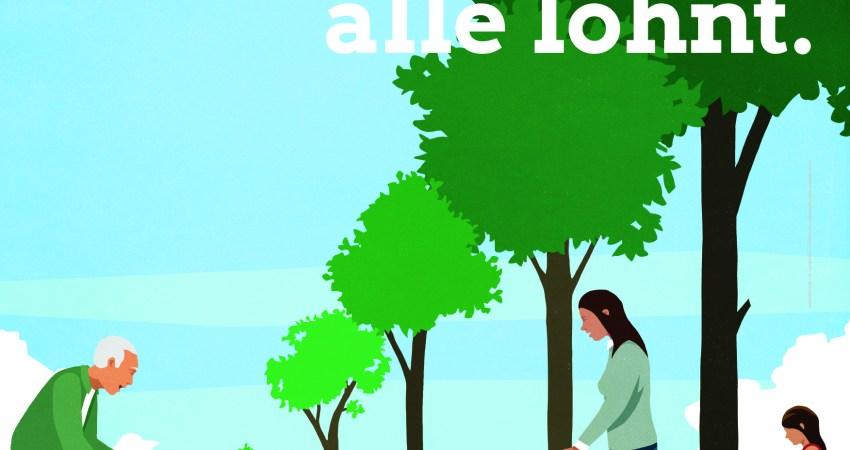 GRÜN IST Klimaschutz, der sich für alle lohnt. 3 Generationen beim Bäumegießen