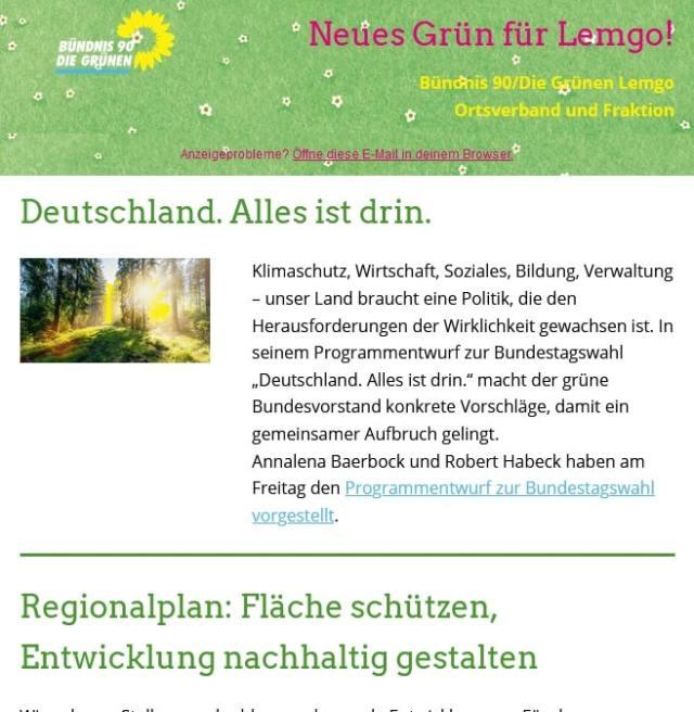 """Newsletter """"Neues Grün"""" von Bündnis 90/Die Grünen Lemgo"""