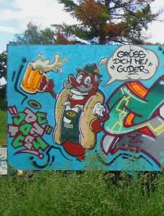 Wurstcase Szenario. Kunst und so - Grüß dich mei Guder. Street Art. Graffiti Coburg. JDE TDN CSW GDMG!