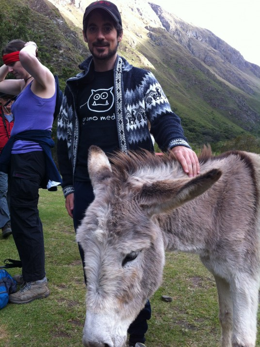 Miguel petting a donkey