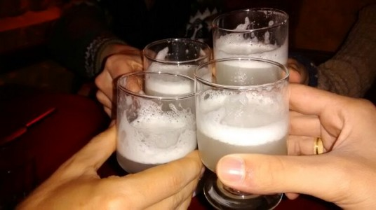 Our last pisco sours with our Brazilian friends - Puno, Peru