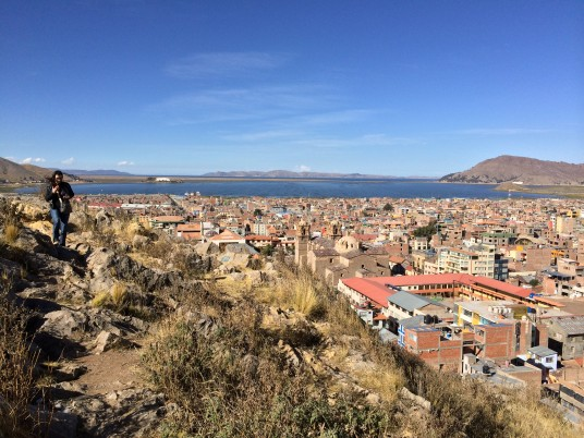 Views of Puno town and Titicaca from little mirador near Plaza de Armas