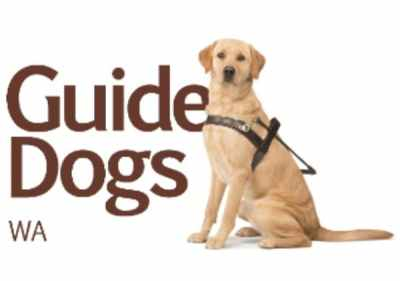 Guide Dogs WA logo with a labrador sitting next to it.