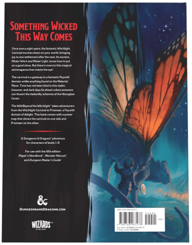 Back Cover art and description to the The Wild Beyond the Witchlight: A Feywild Adventure (Dungeons & Dragons Book)