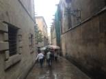 kun noen få paraply turister ute med turguiden å se idag.