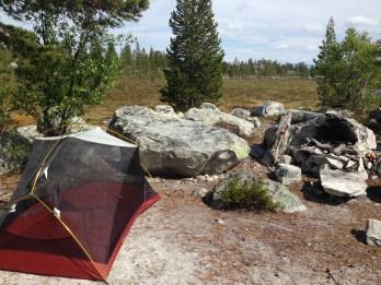 En flott og velbrukt campsite ved Krokåthåen.