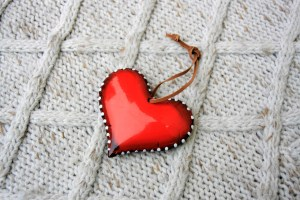 red, heart, wool