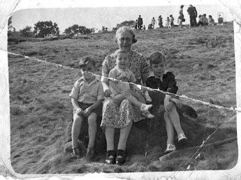 Must be summer 1946, I now have another brother, born summer 1945. With grandma at the local beauty spot where we spent most of our childhood - Shipley Glen. My grandmother was a great walker. She told me she first introduced me to walking by doing the moorland trek from the Dick Hudsons pub at Eldwick to Ilkley, startng from her house in Baker street, via Shipley Glen so about 8 miles, in summer 1943 (so I was just 3 years old)