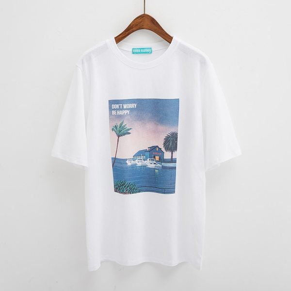 T-shirt tumblr dont worry be happy blanc