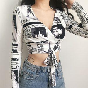 Chemise baddies journaux noir et blanc