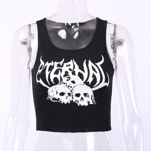 Crop top gothique noir - Eternal