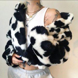Veste courte - Fourrure noir et blanc