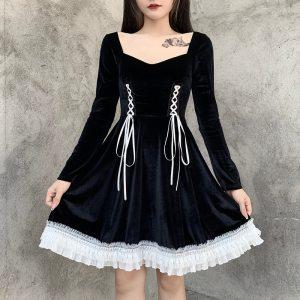 Robe longue gothique - Ruban blanc