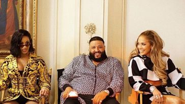 Cardi B, DJ Khaled and Jennifer Lopez on set during 'Dinero' video shoot