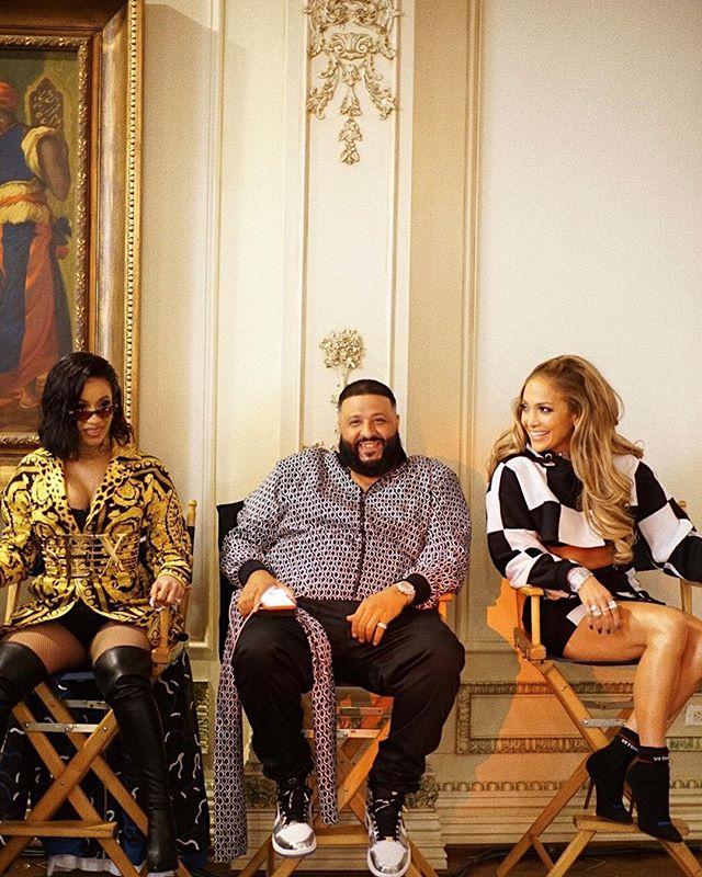 Cardi B, DJ Khaled and Jennifer Lopez on set during 'Dinero' video shoot