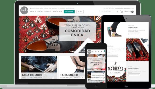 Pantallas Tienda Virtual & Sistema de gestión Tada Zapatos
