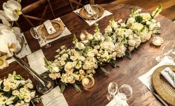 mesa banquete verde e branco