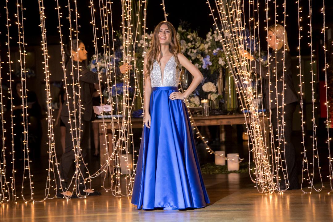 vestido azul longo