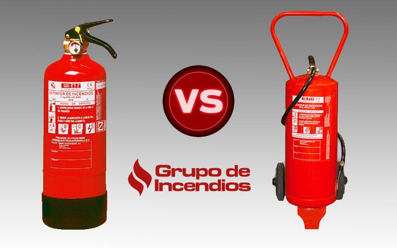 Diferencia entre extintores móviles y portátiles