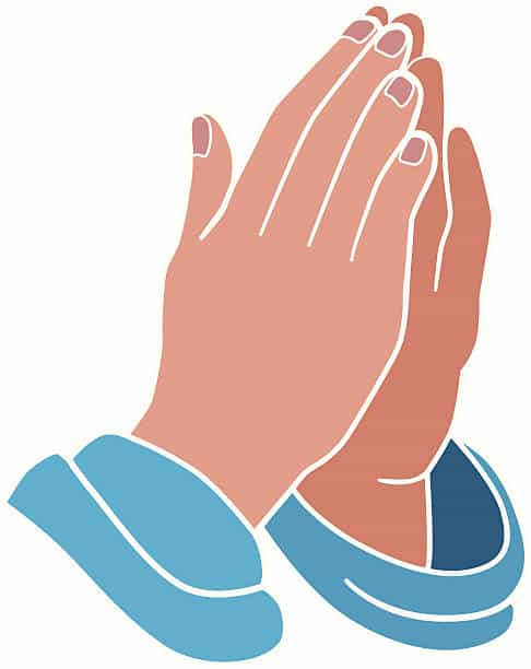 A vector illustration of praying hands.